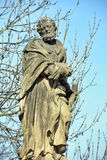 Statue of St. Jude Thaddeus on Charles Bridge in Prague royalty free stock photo