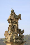 Statue of St. Ludmila with little Wenceslas on the of Charles Bridge, Prague, Czech Republic Stock Photo