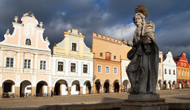 Statue of st. Margaret on Telc or Teltsch town square. View of statue of st. Margaret on Telc or Teltsch town square, Czech republic. World heritage site by Royalty Free Stock Image