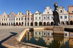 Statue of st. Margaret on Telc or Teltsch town square. View of statue of st. Margaret on Telc or Teltsch town square, Czech republic. World heritage site by Royalty Free Stock Photography