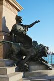 Statue and St. Mark`s basin, in Venice, Italy royalty free stock photo
