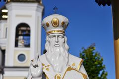 Statue of St. Nicholas near the church. Statue of St. Nicholas the Wonderworker near the church Stock Images