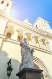 Statue of St. Paul at the entrance of the Lutheran Church of Saints Peter and Paul Church founded in 1838 in St. Petersburg. Royalty Free Stock Image