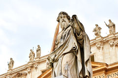 Statue of St. Paul outside the basilica of St. Peter Stock Images