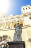 Statue of St. Peter at the entrance of the Lutheran Church of Saints Peter and Paul Church founded in 1838 in St. Petersburg. Stock Photo