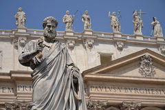 Statue of St. Peter in front of St. Peter's Basili Royalty Free Stock Images