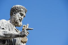 Statue of St Peter in hand the key of heaven royalty free stock photos