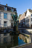 Statue of St. Servatius in front of Basilica of St. Servatius. MAASTRICHT, NETHERLANDS - JANUARY 16, 2016: Statue of St. Servatius in front of Basilica of St Stock Photo