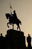 Statue of St. Vaclav. In Prague in the dawn Stock Photography