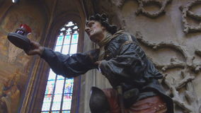 Statue in St. Vitus Cathedral in Hradcany, Prague stock video footage