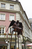 The statue of steel dark angel Stock Photos