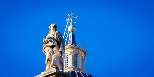 Statue and Steeple Dubrovnik Stock Photo