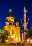 Statue of Stephen Bocskay and Cathedral in Cluj-Napoca Royalty Free Stock Photo