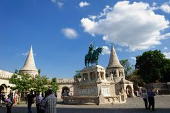 Statue of Stephen I in The Fisherman's Bastion. The Fisherman's Bastion is a terrace in neo-Gothic and neo-Romanesque style situated on the Buda bank of the Stock Images
