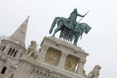 Statue of Stephen I of Hungary stock images