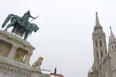 Statue of Stephen I of Hungary stock photo
