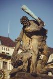 Statue storiche sulle vie di Praga fotografia stock
