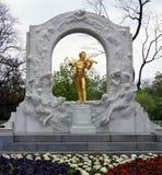 Statue of Strauss in Vienna. Statue of Johann Strauss in Vienna Stadtpark, Austria, in spring time, king of Waltz Royalty Free Stock Photos