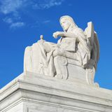 Statue at the Supreme Court. Building in Washington D.C., U.S.A Stock Image