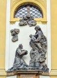 Statue sur la façade de Prague Loreto - monument historique baroque remarquable, Prague, République Tchèque photographie stock