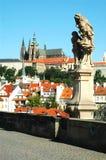 Statue sur la passerelle de Charles, Prague Image libre de droits