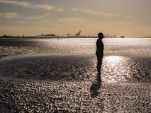 Statue sur la plage de Crosby Image libre de droits