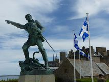 Statue of Surcouf, the most famous and the last privateer Malouins to Saint Malo, Britany, France. stock photos