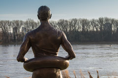 Statue of a swimmer and a nature Royalty Free Stock Image