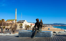 Statue of symbol of Anis del Mono in Badalona Stock Photo