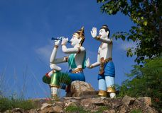 Statue tailandesi del carattere di racconto fotografie stock libere da diritti