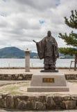 Statue of Taira No Kiyomori on Miyajima Island. Hiroshima, Japan - September 20, 2016: Statue of Taira No Kiyomori, 12th century military leader, at the shore royalty free stock images