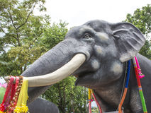 Statue of Thai Elephant  in the temple Royalty Free Stock Photos