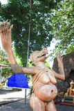 """Statue at Thailand Hell Horror Park. Ones who violate the third of the Five Precepts """"Killing or destroying the animal (pig) receive the results of the bad Royalty Free Stock Photography"""