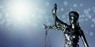 Statue of Themis - goddess of justice. Closeup image with copy space. Statue of Themis - goddess of justice. panoramic image with copy space royalty free stock photo