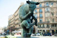 Statue of the thinking bull Stock Photos