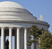 Vertical History--Jefferson and Washington Monuments Royalty Free Stock Photography