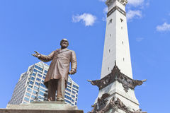 Statue of Thomas Morton and Saints and Sailors monument, Indiana. Polis, IN, USA Royalty Free Stock Image