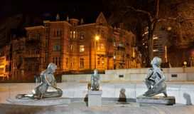 Statue of three naked women, fountain Royalty Free Stock Images