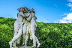 Statue of three virgins in a maze Royalty Free Stock Photography