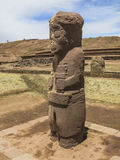 Statue in Tiahuanaco, Bolivia. Ancient statue in the archaeological site of Tiahuanaco, Bolivia Stock Photography