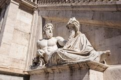 Statue of Tiberinus. Rome, Italy. Statue of Tiberinus, the river god of the Tiber in Piazza del Campidoglio stock photo
