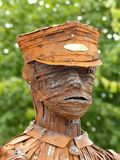 Statue of a tin Man in military uniform Royalty Free Stock Image
