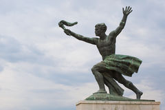 Statue of torch-bearer on Gellert Hill, Budapest Royalty Free Stock Photo