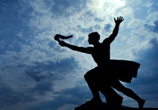 Statue of torch-bearer on Gellert Hill, Budapest. (capital of Hungary Royalty Free Stock Photo
