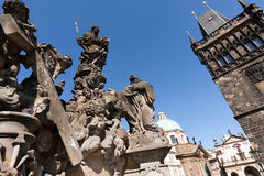Statue and Tower on Charles Bridge Prague Stock Image
