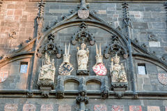 Statue on the Tower of Charles bridge,. Prague Czech Republic Royalty Free Stock Images