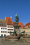Statue of the town founder, Freiberg, Germany. Fountain with statue of the town founder on main square, Freiberg, Saxony, Germany Stock Photo