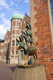 The Statue of Town Musicians of Bremen stock photo