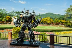 The statue of Transformer is in the resort suan phung. royalty free stock photos