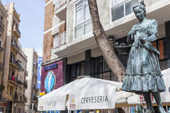 Statue tribute to Raquel Meller, in Paralelo avenue, Barcelona. BARCELONA,SPAIN-APRIL 20,2016: Statue tribute to Raquel Meller, in Paralelo avenue, Barcelona Stock Images